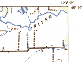 Reduced fragment of topographic map en--usgs--063k--064773--(1942)--N045-30_W123-15--N045-15_W123-00; towns and cities Carlton, Dundee, Gaston
