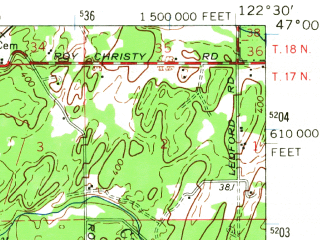Reduced fragment of topographic map en--usgs--063k--064790--(1959)--N047-00_W122-45--N046-45_W122-30; towns and cities Rainier, Yelm, North Yelm