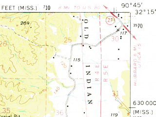 Reduced fragment of topographic map en--usgs--063k--064796--(1966)--N032-15_W091-00--N032-00_W090-45