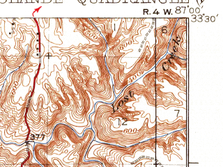 Reduced fragment of topographic map en--usgs--063k--064797--(1935)--N033-30_W087-15--N033-15_W087-00; towns and cities North Johns