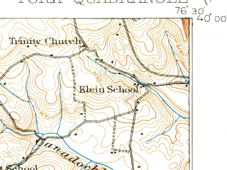 Reduced fragment of topographic map en--usgs--063k--064800--(1908)--N040-00_W076-45--N039-45_W076-30; towns and cities York, Red Lion, East York, Felton, Spry