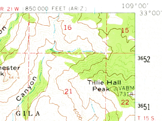 Reduced fragment of topographic map en--usgs--063k--064803--(1959)--N033-00_W109-15--N032-45_W109-00