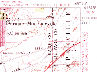 Reduced fragment of topographic map en--usgs--063k--064805--(1954)--N041-45_W088-30--N041-30_W088-15; towns and cities Boulder Hill, Yorkville, Montgomery, Oswego