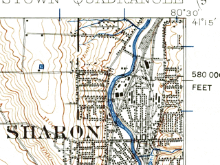 Reduced fragment of topographic map en--usgs--063k--064810--(1906)--N041-15_W080-45--N041-00_W080-30; towns and cities Youngstown, Austintown, Boardman, Struthers, Campbell