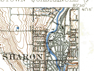 Reduced fragment of topographic map en--usgs--063k--064810--(1908)--N041-15_W080-45--N041-00_W080-30; towns and cities Youngstown, Austintown, Boardman, Struthers, Campbell