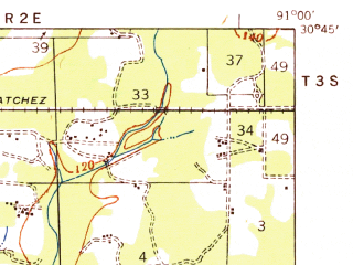 Reduced fragment of topographic map en--usgs--063k--064818--(1939)--N030-45_W091-15--N030-30_W091-00; towns and cities Merrydale, Baker, Brownfields, Zachary, Slaughter