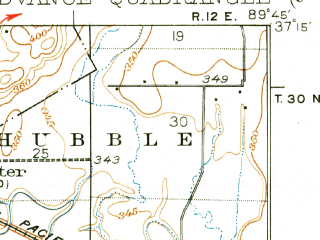 Reduced fragment of topographic map en--usgs--063k--064821--(1934)--N037-15_W090-00--N037-00_W089-45; towns and cities Advance, Allenville, Bell City