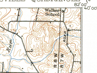 Reduced fragment of topographic map en--usgs--063k--064822--(1910)--N040-00_W082-15--N039-45_W082-00; towns and cities Zanesville, Crooksville, Fultonham, Gratiot
