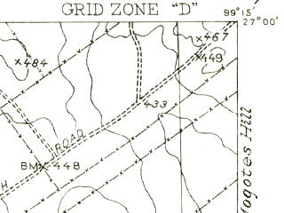 Reduced fragment of topographic map en--usgs--063k--064823--(1956)--N027-00_W099-30--N026-45_W099-15; towns and cities Zapata