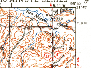 Reduced fragment of topographic map en--usgs--063k--064835--(1944)--N031-45_W093-45--N031-30_W093-30; towns and cities Noble, Zwolle