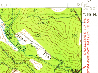 Reduced fragment of topographic map en--usgs--063k--072704--(1941)--N039-30_W121-30--N039-15_W121-15 in area of Collins Lake, Lake Mildred; towns and cities Challenge-brownsville, Loma Rica
