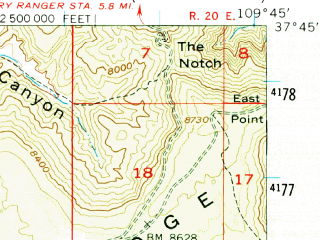 Reduced fragment of topographic map en--usgs--063k--072706--(1954)--N037-45_W110-00--N037-30_W109-45