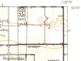 Reduced fragment of topographic map en--usgs--063k--072713--(1944)--N034-15_W118-45--N034-00_W118-30 in area of Chatsworth Reservoir; towns and cities Hidden Hills