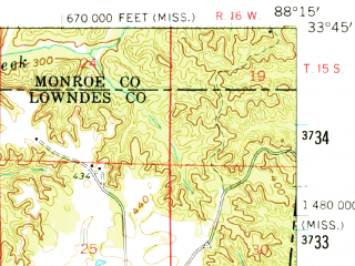 Reduced fragment of topographic map en--usgs--063k--072715--(1960)--N033-45_W088-30--N033-30_W088-15; towns and cities Columbus, Caledonia, Columbus Afb
