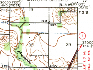 Reduced fragment of topographic map en--usgs--063k--072716--(1943)--N038-15_W088-15--N038-00_W088-00; towns and cities Carmi, Crossville, Maunie, Phillipstown