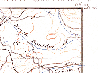 Reduced fragment of topographic map en--usgs--063k--072717--(1910)--N040-00_W105-45--N039-45_W105-30; towns and cities Central City, Empire, Nederland