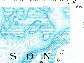 Reduced fragment of topographic map en--usgs--063k--072719--(1892)--N029-15_W090-15--N029-00_W090-00 in area of Lake Laurier; towns and cities Grand Isle