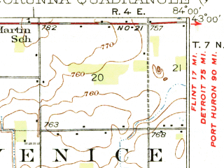 Reduced fragment of topographic map en--usgs--063k--072722--(1929)--N043-00_W084-15--N042-45_W084-00; towns and cities Owosso, Perry, Vernon, Bancroft