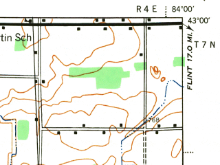 Reduced fragment of topographic map en--usgs--063k--072722--(1944)--N043-00_W084-15--N042-45_W084-00; towns and cities Owosso, Vernon, Bancroft, Corunna