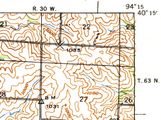 Reduced fragment of topographic map en--usgs--063k--072723--(1940)--N040-15_W094-30--N040-00_W094-15; towns and cities Albany, Darlington, Ford City