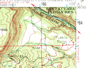 Reduced fragment of topographic map en--usgs--063k--072735--(1953)--N036-00_W106-30--N035-45_W106-15; towns and cities Los Alamos