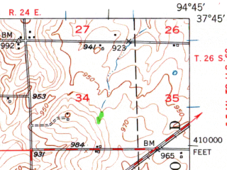 Reduced fragment of topographic map en--usgs--063k--072737--(1948)--N037-45_W095-00--N037-30_W094-45; towns and cities Girard, Hepler
