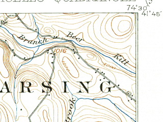 Reduced fragment of topographic map en--usgs--063k--072749--(1909)--N041-45_W074-45--N041-30_W074-30; towns and cities Monticello, South Fallsburg, Woodridge