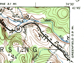 Reduced fragment of topographic map en--usgs--063k--072749--(1944)--N041-45_W074-45--N041-30_W074-30; towns and cities Monticello, Woodridge, South Fallsburg