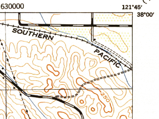 Reduced fragment of topographic map en--usgs--063k--072751--(1943)--N038-00_W122-00--N037-45_W121-45; towns and cities Concord, Antioch, Danville, San Ramon, Alamo