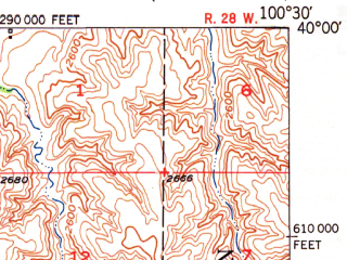 Reduced fragment of topographic map en--usgs--063k--072759--(1951)--N040-00_W100-45--N039-45_W100-30; towns and cities Oberlin