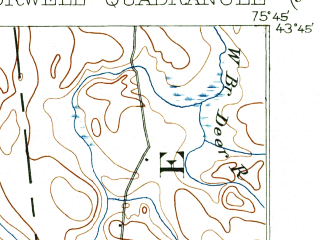 Reduced fragment of topographic map en--usgs--063k--072762--(1903)--N043-45_W076-00--N043-30_W075-45 in area of Salmon Reservoir