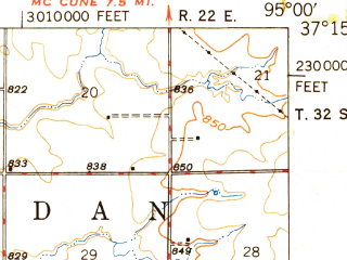 Reduced fragment of topographic map en--usgs--063k--072764--(1948)--N037-15_W095-15--N037-00_W095-00; towns and cities Bartlett, Chetopa, Labette