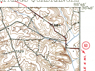 Reduced fragment of topographic map en--usgs--063k--072773--(1931)--N036-45_W086-00--N036-30_W085-45; towns and cities Fountain Run, Gamaliel, Red Boiling Springs