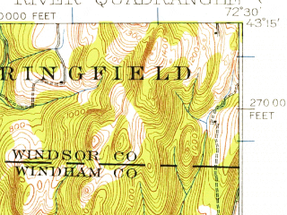 Reduced fragment of topographic map en--usgs--063k--072780--(1930)--N043-15_W072-45--N043-00_W072-30; towns and cities Saxtons River