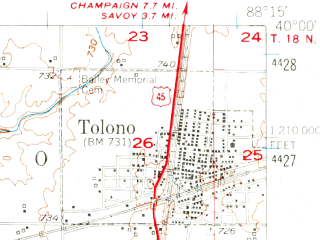 Reduced fragment of topographic map en--usgs--063k--072792--(1950)--N040-00_W088-30--N039-45_W088-15; towns and cities Ivesdale, Pesotum, Sadorus