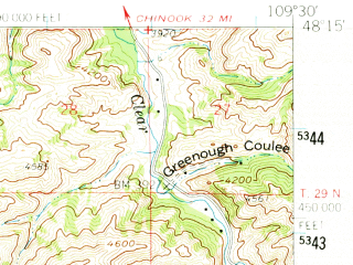 Reduced fragment of topographic map en--usgs--063k--072793--(1959)--N048-15_W109-45--N048-00_W109-30