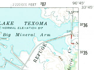 Reduced fragment of topographic map en--usgs--063k--072794--(1958)--N033-45_W097-00--N033-30_W096-45; towns and cities Collinsville, Sadler, Whitesboro