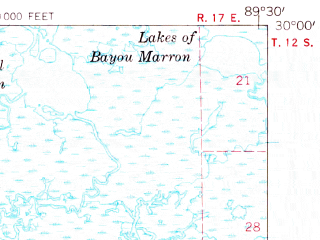 Reduced fragment of topographic map en--usgs--063k--072795--(1957)--N030-00_W089-45--N029-45_W089-30 in area of Lake Ameda, Hopedale Lagoon