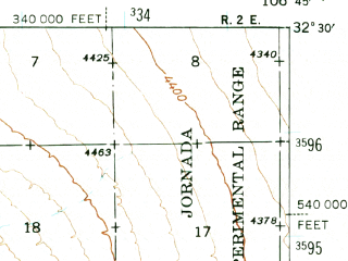 Reduced fragment of topographic map en--usgs--063k--072800--(1941)--N032-30_W107-00--N032-15_W106-45; towns and cities Las Cruces, Dona Ana, Mesilla