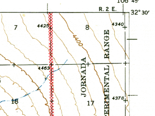 Reduced fragment of topographic map en--usgs--063k--072800--(1943)--N032-30_W107-00--N032-15_W106-45; towns and cities Las Cruces, Dona Ana, Mesilla