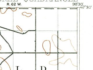 Reduced fragment of topographic map en--usgs--063k--074291--(1900)--N047-15_W099-00--N047-00_W098-45 in area of Mud Lake; towns and cities Buchanan, Pingree