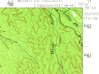 Reduced fragment of topographic map en--usgs--063k--320605--(1944)--N038-30_W079-30--N038-15_W079-15