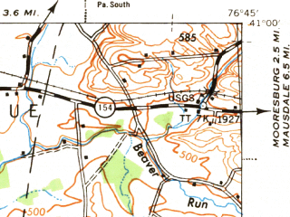 Reduced fragment of topographic map en--usgs--063k--320614--(1943)--N041-00_W077-00--N040-45_W076-45 in area of W. Branch Susquehanna; towns and cities Sunbury, Lewisburg, Selinsgrove, Hummels Wharf, Linntown
