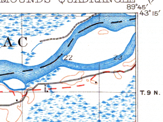 Reduced fragment of topographic map en--usgs--063k--320617--(1922)--N043-15_W090-00--N043-00_W089-45; towns and cities Arena, Barneveld, Blue Mounds