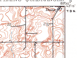 Reduced fragment of topographic map en--usgs--063k--320618--(1907)--N043-15_W089-45--N043-00_W089-30; towns and cities Middleton, Black Earth, Cross Plains, Mount Horeb