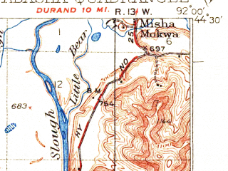 Reduced fragment of topographic map en--usgs--063k--320624--(1932)--N044-30_W092-15--N044-15_W092-00; towns and cities Nelson, Pepin, Wabasha