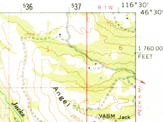 Reduced fragment of topographic map en--usgs--063k--320632--(1958)--N046-30_W116-45--N046-15_W116-30; towns and cities Reubens, Culdesac