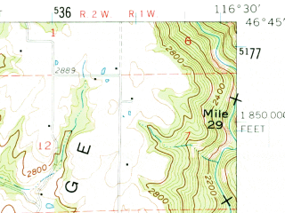 Reduced fragment of topographic map en--usgs--063k--320633--(1961)--N046-45_W116-45--N046-30_W116-30; towns and cities Juliaetta, Kendrick