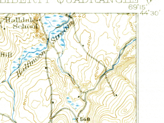 Reduced fragment of topographic map en--usgs--063k--320810--(1916)--N044-30_W069-30--N044-15_W069-15 in area of St. Georges Lake, Sheepscot Pond
