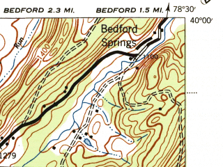 Reduced fragment of topographic map en--usgs--063k--320814--(1944)--N040-00_W078-45--N039-45_W078-30; towns and cities Hyndman, Rainsburg